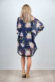 Friday Kimono - Large Navy Floral