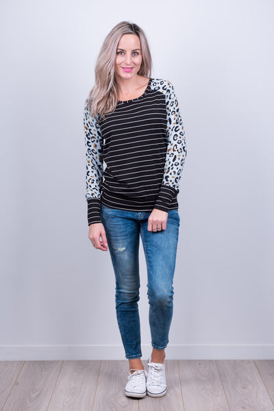 Argentina Top - Animal Print Sleeve