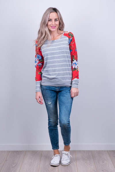 Argentina Top - Red Floral Sleeve