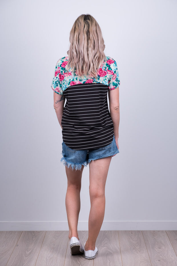 Harriet Top - B/W Stripe