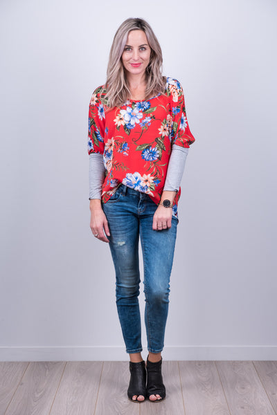Kiera Top - Red Floral