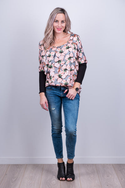 Kiera Top - Grey Floral
