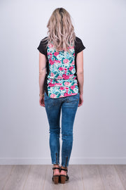 Wallace Top - Black/Floral