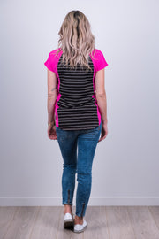 Wallace Top - Pink/Black Stripe