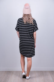 Clara Dress - B/W Stripe