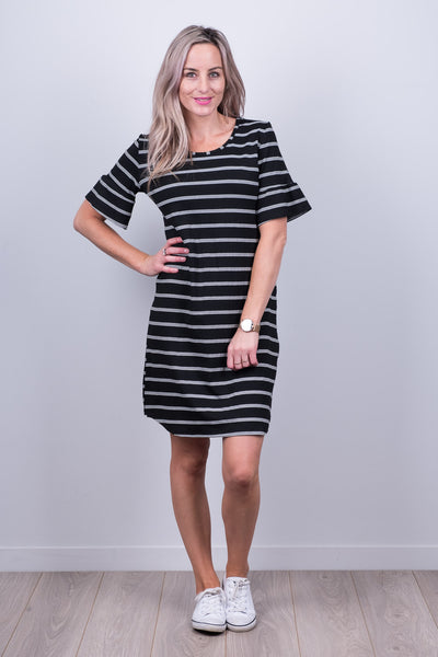 Gloria Dress - B/W Stripe