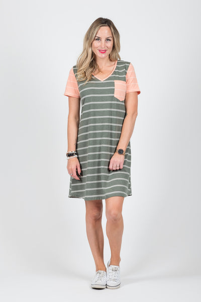 Amber Dress - Apricot Stripe Sleeve