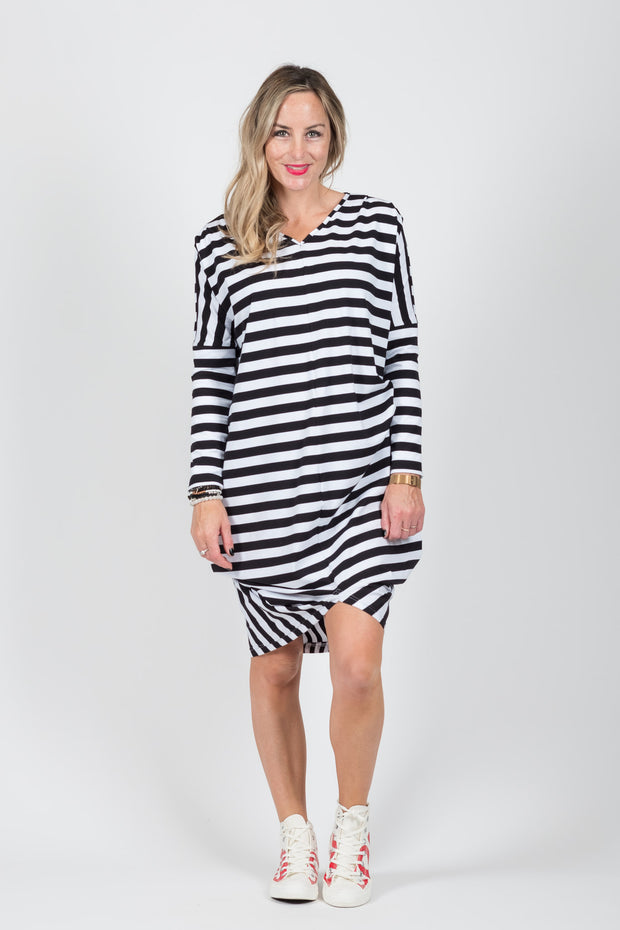 Foxglove Dress - B/W Stripe