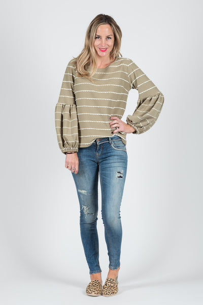 Paige Jumper - Meadow Green Stripe