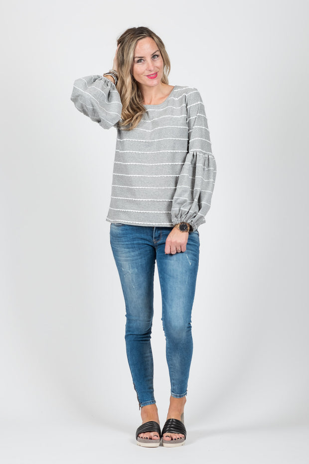 Paige Jumper - Light Grey Stripe