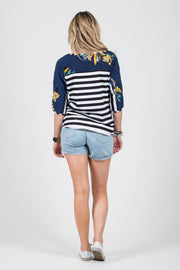 Riley Top - B/W Stripe/Navy Floral