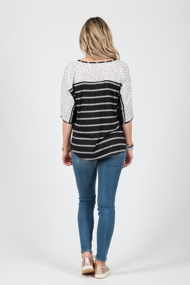 Riley Top - B/W Stripe / Spot
