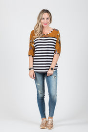 Riley Top - B/W Stripe/Rust Floral