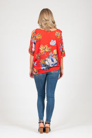 Powder Top - Red Floral