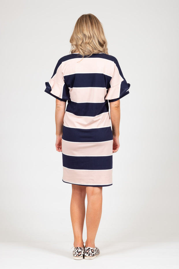 Camellia Dress - Pink Navy Stripe