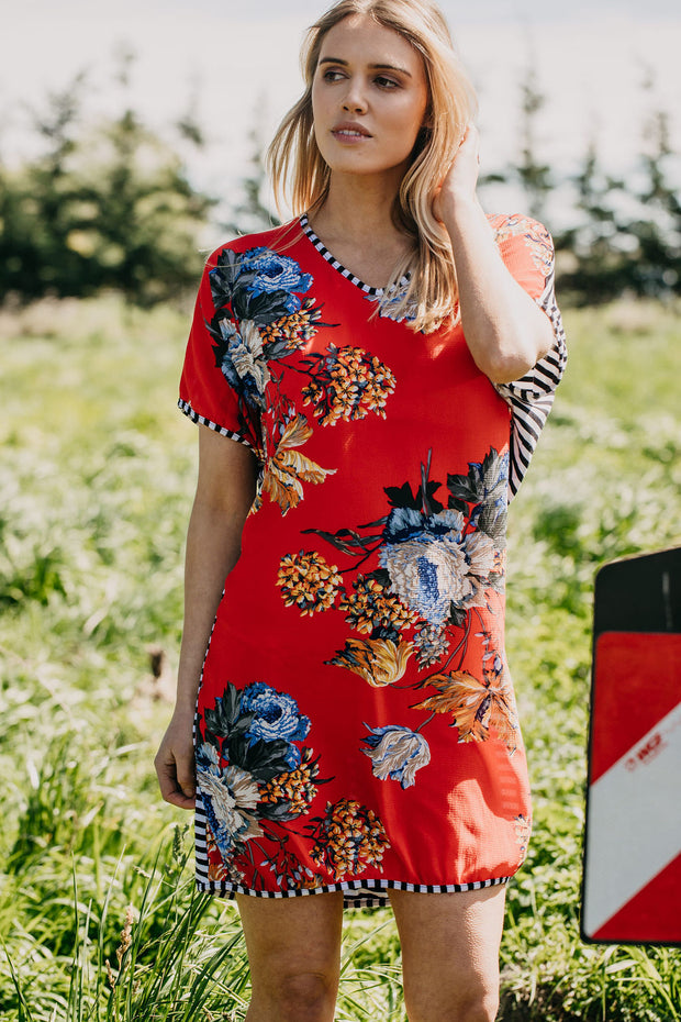 Clara Dress - Red Floral