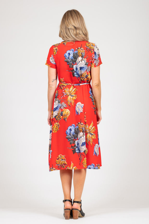 Janey Dress - Red Floral