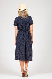 Janey Dress - Navy Spot