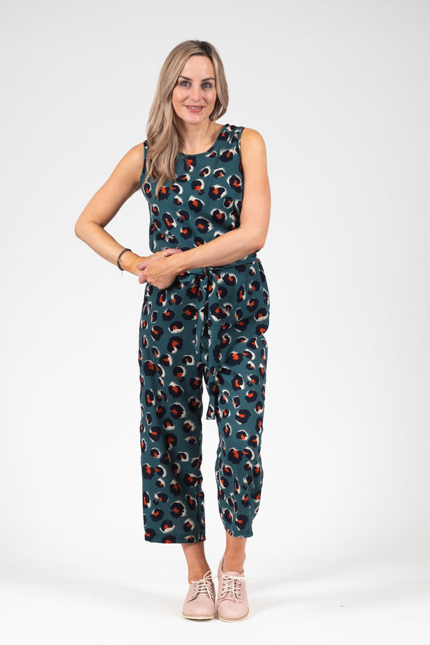 Daisy Jumpsuit - Green Animal
