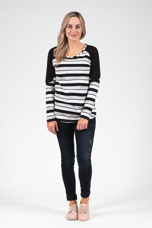 Bailey Top - Grey Stripe
