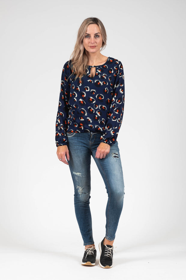 Katya Top - Navy Animal