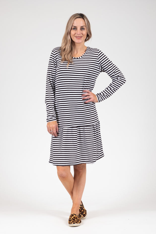 Kowhai Dress - B&W Stripe
