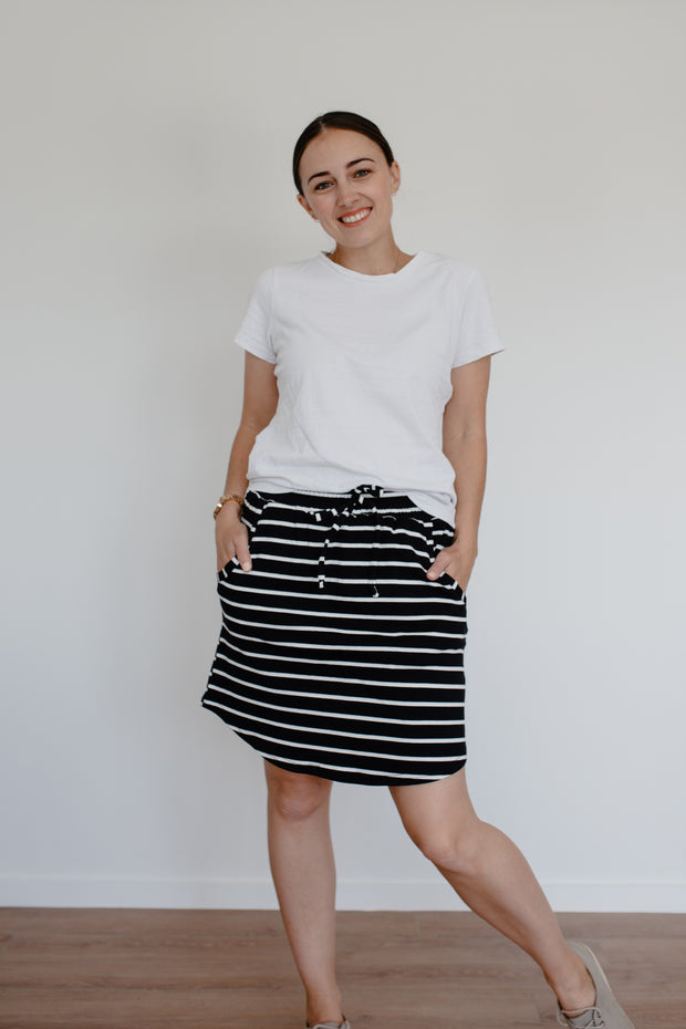 Freya Skirt - Black + White Stripe