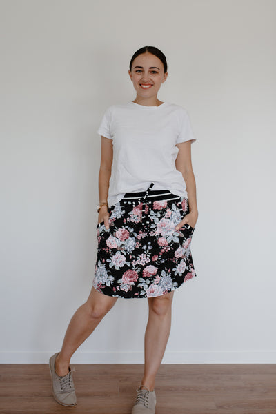 Freya Skirt - Black Floral