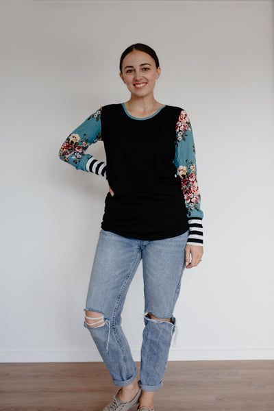 Dill Top - Black/Teal Floral