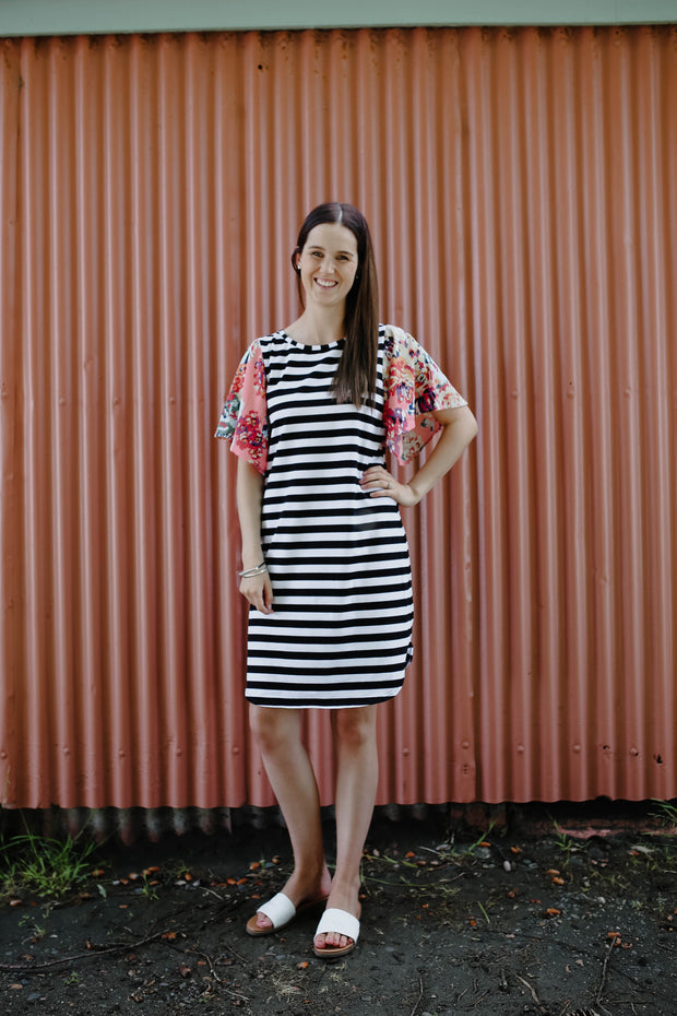 Belle Dress - Pink Floral & Stripe