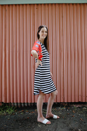 Belle Dress - Red Floral & Stripe