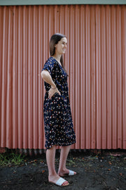 Flora Dress - Small Navy Floral
