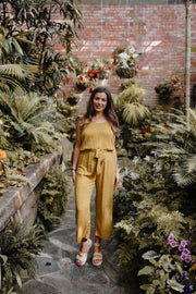Poppy Jumpsuit - Mustard Dot