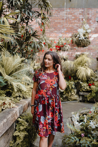 Evie Dress - Plum Floral