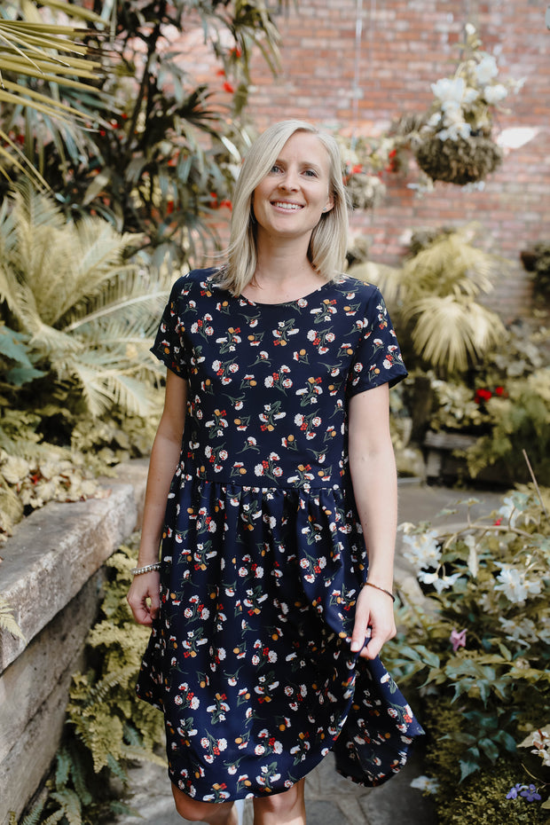 Evie Dress - Navy Floral