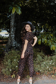 Ivy Jumpsuit - Black/Tan Leopard