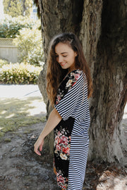 Clara Dress - Black Floral & Stripe
