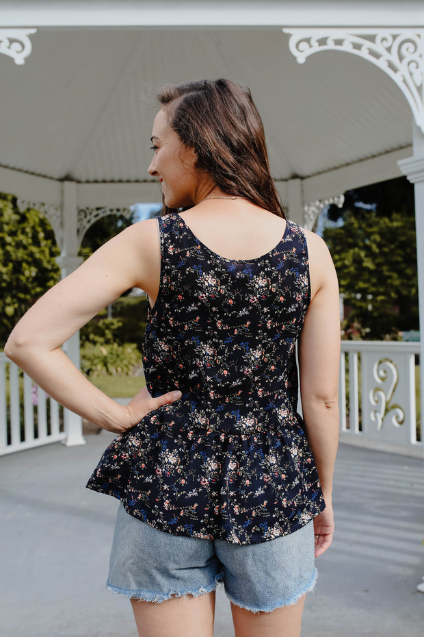 Maeve Top - Navy Mini Floral