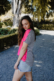 Vienna Top - Hot Pink/Stripe