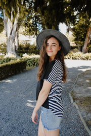 Vienna Top - Black/Stripe