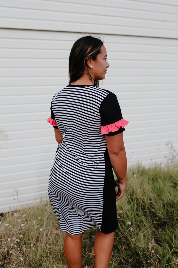 Stitch Dress - Stripe/Hot Pink