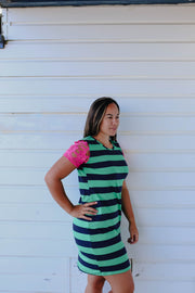 Lacey Dress - Green & Navy Stripe