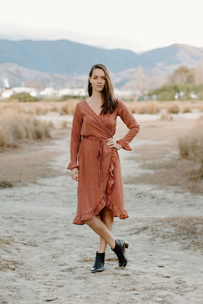 Millicent Dress - Terracotta Spot