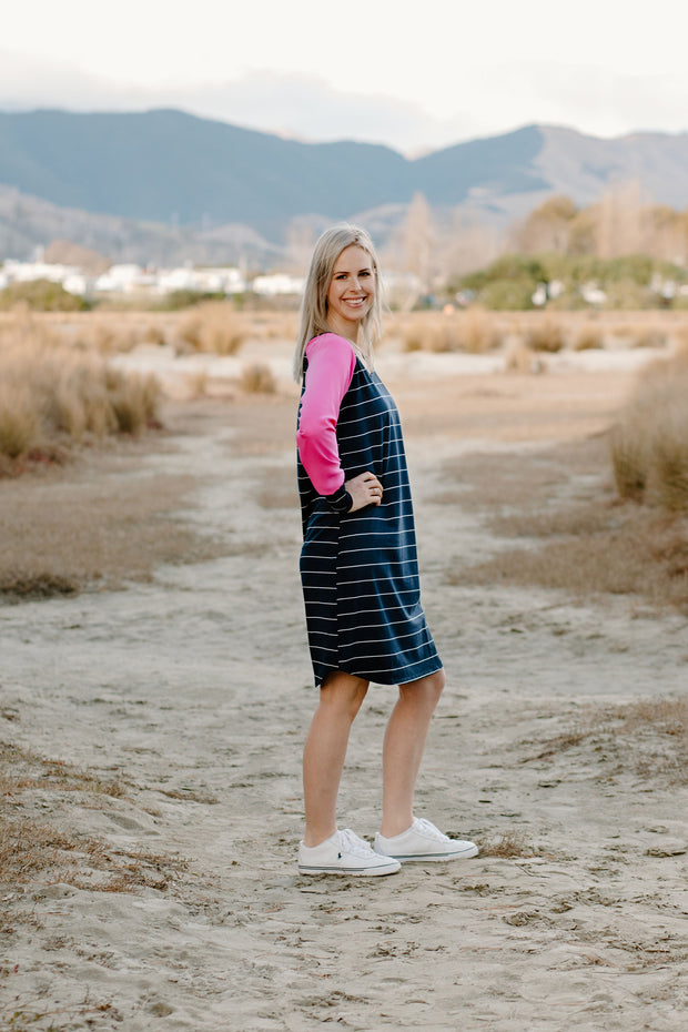 Holster Dress - Navy Stripe/Hot Pink