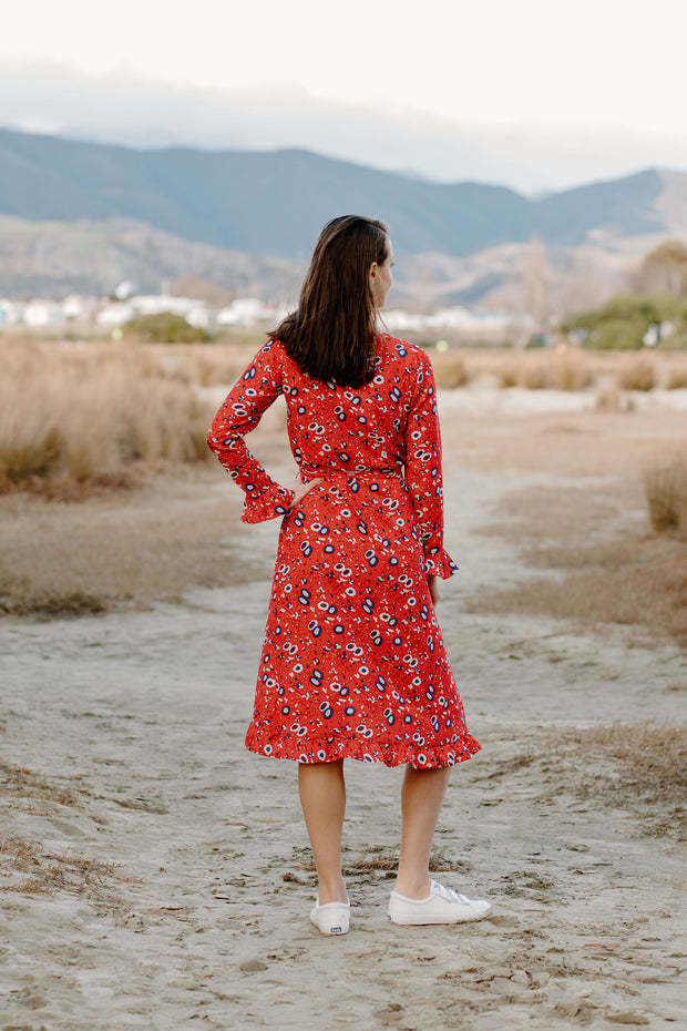 Millicent Dress - Red Pattern