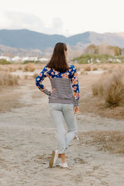 Heidi Jumper - Stripe/Blue Floral