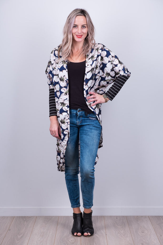 Blue Floral Tussock Jumper Cardi from White Chalk