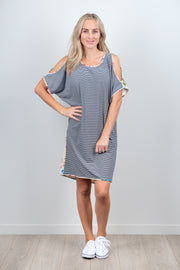 Thin Stripe Front Sofia Dress from White Chalk Ltd