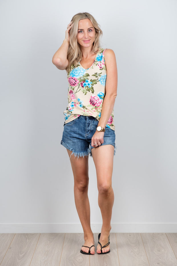 Karen Singlet Nude Floral from White Chalk Ltd