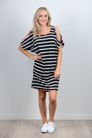 Black and White Stripe Front Sofia Dress from White Chalk Ltd